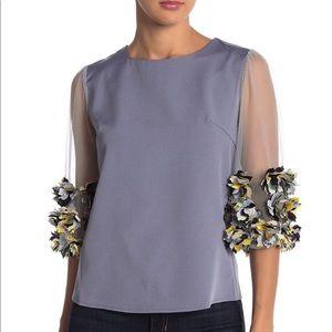 Gracia- Floral Applique Sheer Sleeve Blouse